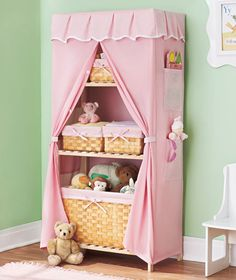 Covered Storage Unit and Baskets are made to go with each other, but equally useful apart. Styled just right for a kid's room, both the unit and set of 6 baskets boast durable wood construction.