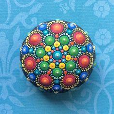 Jewel Drop Mandala Painted Stone painted by by ElspethMcLean