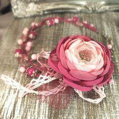 Купить Фея Ягодного Сада. Колье и брошь - цветок ручной работы - розовый, светло-розовый
