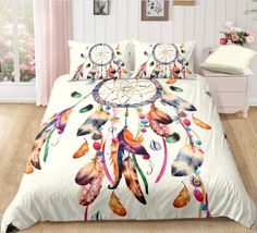 Bohemian | Bohemian Shrine Duvet Cover Sets, Pillow Covers, Bohemian Bedding Sets, Watercolor Dreamcatcher, Blanket Cover, Dust Mites, Dream Catcher, Pillows, Furniture