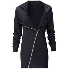 Elastic Waist Zips Plain Hoodie ($19) ❤ liked on Polyvore featuring tops, hoodies, long zip hoodie, elastic waist tops, long hoodies, zipper hoodie and hooded pullover