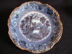 "VICTORIAN JAMES KENT 'RHINE' BLUE/WHITE & GILT 9"" DINNER PLATE c.1890's A/F    eBay"