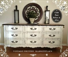 DIY Chalk Paint Old White Before & After Dresser  http://vintagecountrystyle.blogspot.com/2013/11/annie-sloan-weekend-project-before-and.html