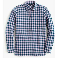 J.Crew Gingham Popover Shirt ($72) ❤ liked on Polyvore featuring tops, petite, blue shirt, gingham check shirt, blue gingham shirt, long tops and gingham top