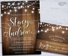 This rustic wedding invitations set features multiple strands of draped twinkling bokeh string lights. This is all featured on a rustic wood background. This design is perfect for any season whether it be Spring, Summer, Fall or Winter. This is a printable wedding kit that is easy and great for at-home printing. If printing is not for you simply have us print or take the files to any print shop such as Staples or Kinkos, where they can print & cut them for you! Printable invitations are g...