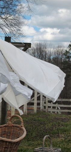 Looks like my clothes line last week, all the white sheets!  They smelled so good!