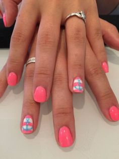 Pink with stripe and blue anchor accent nail - Beach Nails Fancy Nails, Pink Nails, Pretty Nails, Blue Nail, Nautical Nails, Best Nail Art Designs, Toe Nail Designs, Anchor Nail Designs, Nautical Nail Designs