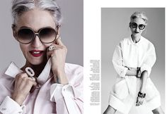 Ageless beauty. At 65, Linda Rodin rock the classic white look with incredible silver hair for FASHION Magazine by Gabor Jurina