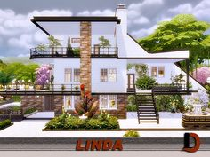 Created By Linda Created for: The Sims 4 Modern house in a Scandinavian style.moveobjects Use of custom content: Creation needs CC (links to all needed CC listed in. Sims 4 Family House, Sims 4 Modern House, Sims 4 House Design, Sims 4 House Plans, Sims 4 House Building, Layouts Casa, House Layouts, Casas The Sims 3, Sims 4 Loft