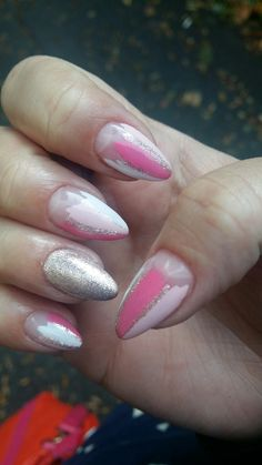 #pink #glitter #gel #nails #flower #simple #myseptembernails