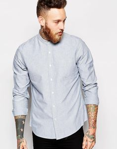 "Shirt by ASOS Breathable cotton Grandad collar Button placket Chest pocket Regular fit - true to size Machine wash 100% Cotton Our model wears a size Medium and is 191cm/6'3"" tall"