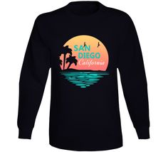 San Diego California Coastal City Palm Trees Beaches Long Sleeve Shirt Palm Trees Beach, Oakland California, San Diego, Long Sleeve Shirts, Sweatshirts, Sleeves, Mens Tops, Shopping, Sweatshirt
