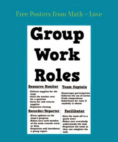 Posters of Group Work Roles - from Math = Love