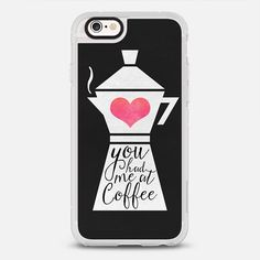 You had me at coffee - protective iPhone 6 phone case in Clear and Clear by  Elisabeth Fredriksson | Monday blue! Coffee please! >>> https://www.casetify.com/product/you-had-me-at-coffee/iphone6s/new-standard-case#/177607 | @casetify