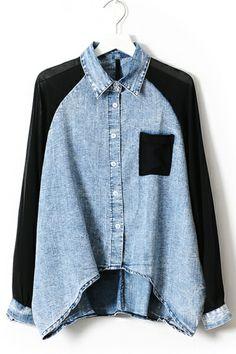 Chiffon Sleeve High-low Denim Shirt OASAP.com