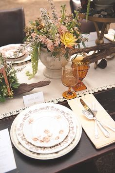 Vintage Yellow Patterned China for an Elegant Ranch Wedding | Bit of Ivory Photography | See More! http://heyweddinglady.com/hitched-rustic-romance-wedding-inspiration-orchestrated-stylized-shoots/ | Dirty Dishes-Vintage Dishes For Rent