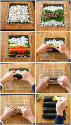 Bulgogi Kimbap (Bulgogi Seaweed Rice Rolls) is part of Korean kitchen - How to make Bulgogi Kimbap (Bulgogi Seaweed Rice Rolls) It makes a perfect picnic food, lunchbox item and party food Full of healthy and savoury flavour! Sushi Recipes, Asian Recipes, Cooking Recipes, Healthy Recipes, Asian Desserts, Rice Recipes, Healthy Food, Recipies, How To Make Bulgogi