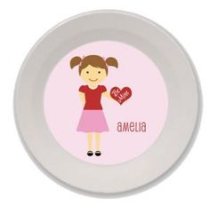 Personalized Valentine's Day Bowls for Kids (Girl)