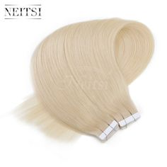 "Neitsi 100% Natural Indian Virgin Human Hair Remy Tape In Hair Straight Extensions 20"" #613 Light Blonde Color Fast Shipping"