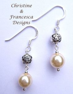 <3 Choice of 4 colours to choose from ♥ Colour shown is CREAM and Rose Bead <3 .925 Sterling Silver Glass Pearl and Rose Bead Drop Dangle Hook Earrings + Gift Box & Organza Gift Bag ~ by Christine & Francesca Designs