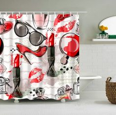 Dafield Fashion Shower Curtain Accessories Makeup Theme Pattern with Perfume Lipstick for Girls Women Shower Curtain Bath Girl Shower Curtain Art, Bathroom Shower Curtains, Fabric Shower Curtains, Curtain Fabric, Bathroom Flooring, Plastic Curtains, Hanging Curtains, Bath Screens, Bathroom Red