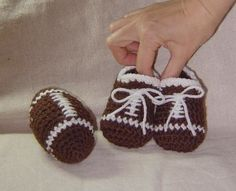 Football Baby Booties -  Find the pattern here: http://crocheting.myfavoritecraft.org/crochet-baby-patterns/