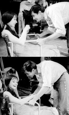 Playful Audrey Hepburn and Anthony Perkins, MGM studios, 1958.
