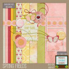 Amanda Brown Online   Write ♥ Design ♥ Create: Digital Scrapbooking Freebies   Mini Kit   Pink Green Yellow   Spring Fields