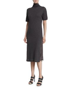 W0C76 Brunello Cucinelli Half-Sleeve Turtleneck Sweaterdress, Volcano