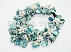 """YH@CS >>Natural Glitter Blue Mother of Pearl Shell Weave 7 Flowers Pendant Necklace 18"""""""