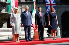 Prince Charles, Prince of Wales (L) and Camilla, Duchess of Cornwall receive an official welcome from President Enrique Peña Nieto and the First Lady Angélica Rivera