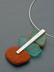 Rebecca Ward - Drifter Pendant (sterling silver, ceramic fragments, found glass)
