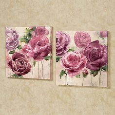 Mauve shadow, violet quartz, and orchid smoke roses unfurl beautiful petals within the Emma Rose Floral Canvas Wall Art Set. Wall Art Sets, Framed Wall Art, Canvas Wall Art, Diy Canvas, Floral Wall Art, Arte Floral, Flower Canvas, Flower Art, Plant Drawing