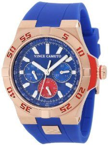 Vince Camuto Men's VC/1010BLRG Rosegold-Tone Multi-Function Blue Resin Strap Watch Vince Camuto. $250.00. Soft, smooth blue resin strap with stainless-steel rose gold-tone Vince Camuto accent logo and rose gold-tone stainless-steel buckle. Water-resistant to 50 M (165 feet). Bezel etched with Arabic numerals revealing the red aluminum layer below. Vibrant blue dial with day and date function subdial dials and red 24 hour subdial. Luminous filled hour and minute hands with l...
