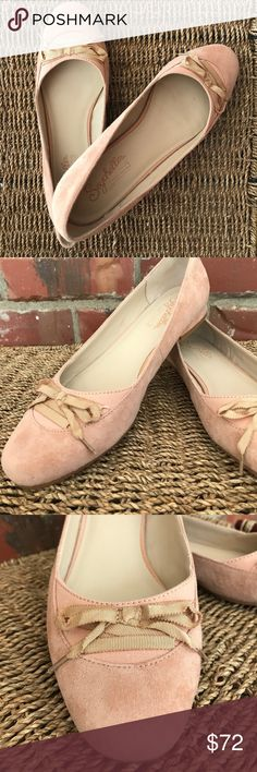 Anthropologie Seychelles pink suede flats size 10 So feminine and beautiful! Size 10 Suede soft pink flats, *NEW* only worn once in my house, smoke free home. Shoes Flats & Loafers