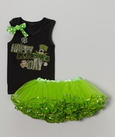 Another great find on #zulily! Green Rhinestone Tank & Pettiskirt - Infant, Toddler & Girls by So Girly & Twirly #zulilyfinds