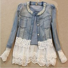 Vintage Beaded Lace Denim Women Jacket | Daisy Dress for Less | Women's Dresses & Accessories