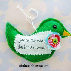 Felt Bird Christmas Ornament Joy To The World by trinketsnh, $5.50