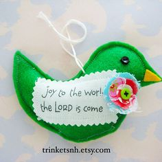 Felt Bird Christmas Ornament Joy To The World by trinketsnh, $5.50