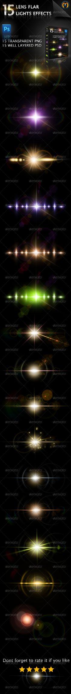 15 Lens Flares V.1 - #Decorative Graphics Download here:  https://graphicriver.net/item/15-lens-flares-v1/5330487?ref=alena994