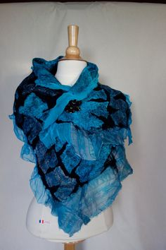 nuno felted wrap,scarf shawl dark blue turquoise and black nuno felted  with brooch in a  butterfly design