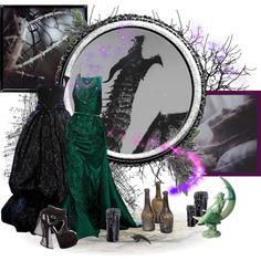 Sleeping Beauty (Maleficent) by birdiemcgrew on Polyvore featuring Fendi, Mi Lajki, Elie Saab and Tim Holtz
