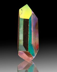 Opal Aura Quartz with Lemurian terminations from Arkansas - the iridescent colours are a result of platinum being present in quartz.