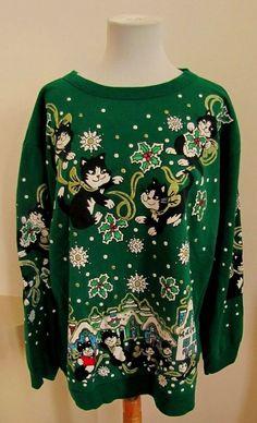 Vintage Crazy Cat Lady Ugly Sweatshirt Sweater Woman XL Men L Holiday Christmas  #ChristmasOnMainstreet #SweatshirtCrew