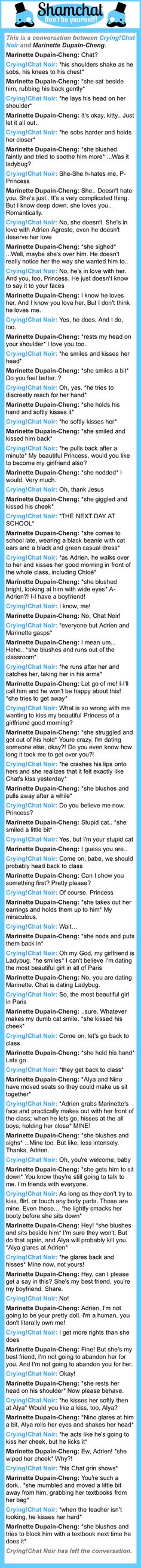 A conversation between Marinette Dupain-Cheng and Crying!Chat Noir