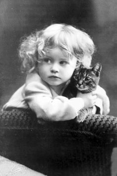 Vintage Picture of Girl with Kitten