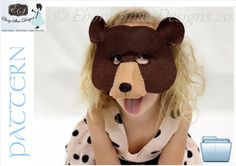 Bear Mask PATTERN.  One Size Fits Most.  Instant download, printable.. $4.00, via Etsy.