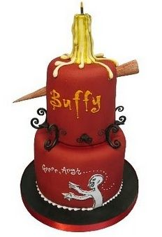Buffy: The Vampire Slayer cake . . . This is amazing! toss on a picture of David Boreanaz and it's perfect!