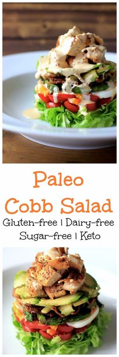 My PCOS Kitchen - Paleo Cobb Salad - This dairy-free salad is so fun to make and has all the typical ingredients + more! All gluten-free and low carb! Keto approved too.