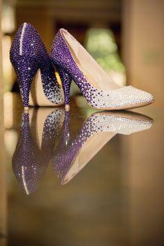 Custom Swarovski Crystal Embellished Wedding Shoes Purple and Silver ombre. $550.00, via Etsy.